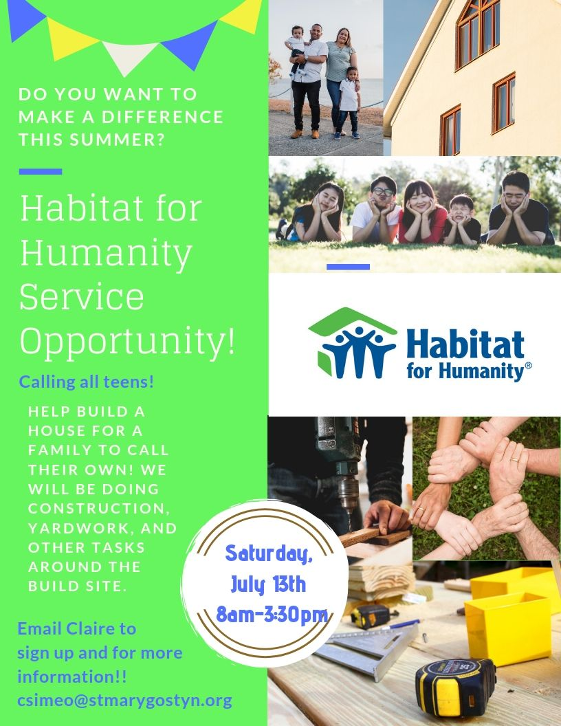 Habitat for Humanity Service Opportunity!