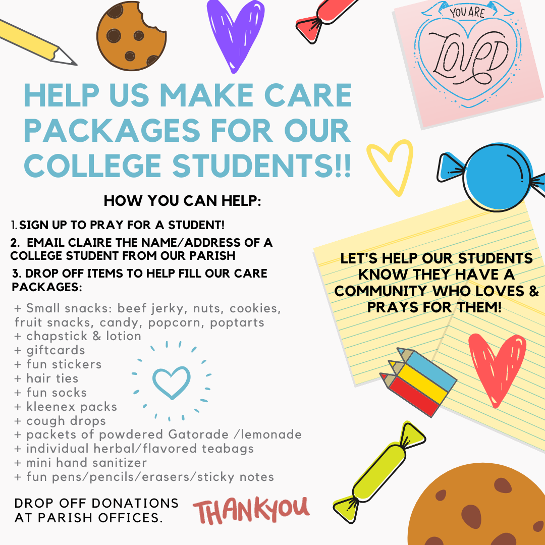 Help us make care packages for our college students!!