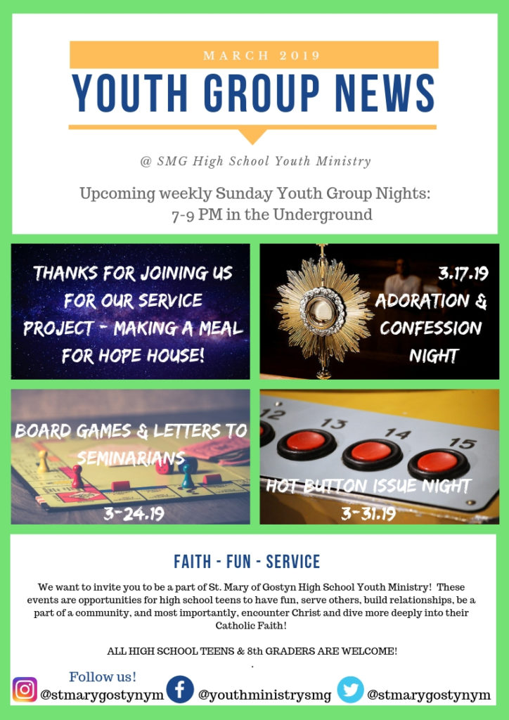 Youth Group News -March